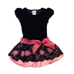 Bonnie Jean Push Black/Pink Roses Formal Dress 5